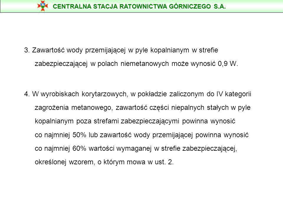 §. 314 1. Zawartość części niepalnych stałych w pyle kopalnianym w strefie zabezpieczającej, oznaczona zgodnie z Polskimi Normami, powinna wynosić co