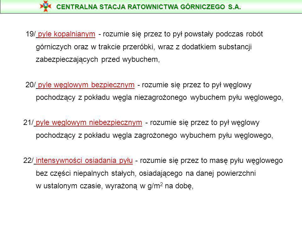 Rozdział 1 Przepisy ogólne § 2. Ilekroć w rozporządzeniu jest mowa o: 16/ pyle węglowym -rozumie się przez to ziarna węgla przechodzące przez sito o w