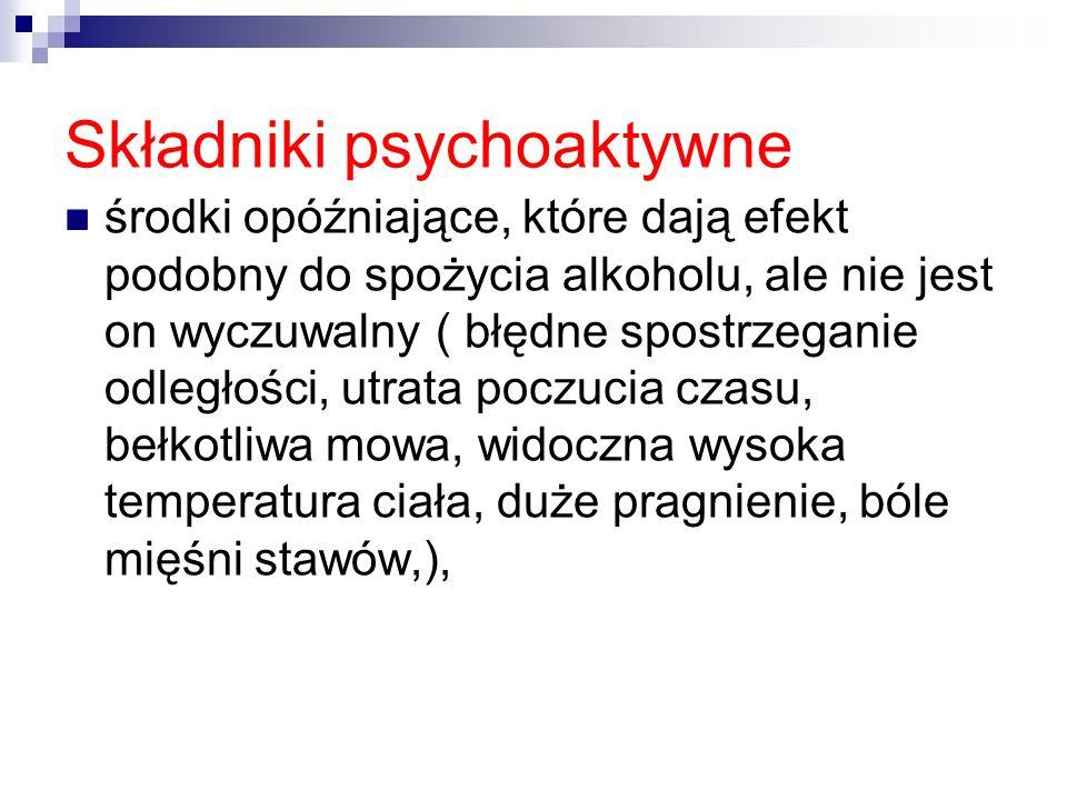 Składniki psychoaktywne środki opóźniające, które dają efekt podobny do spożycia alkoholu, ale nie jest on wyczuwalny ( błędne spostrzeganie odległośc
