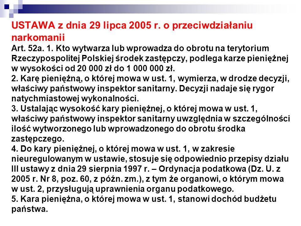 USTAWA z dnia 29 lipca 2005 r. o przeciwdziałaniu narkomanii Art. 52a. 1. Kto wytwarza lub wprowadza do obrotu na terytorium Rzeczypospolitej Polskiej