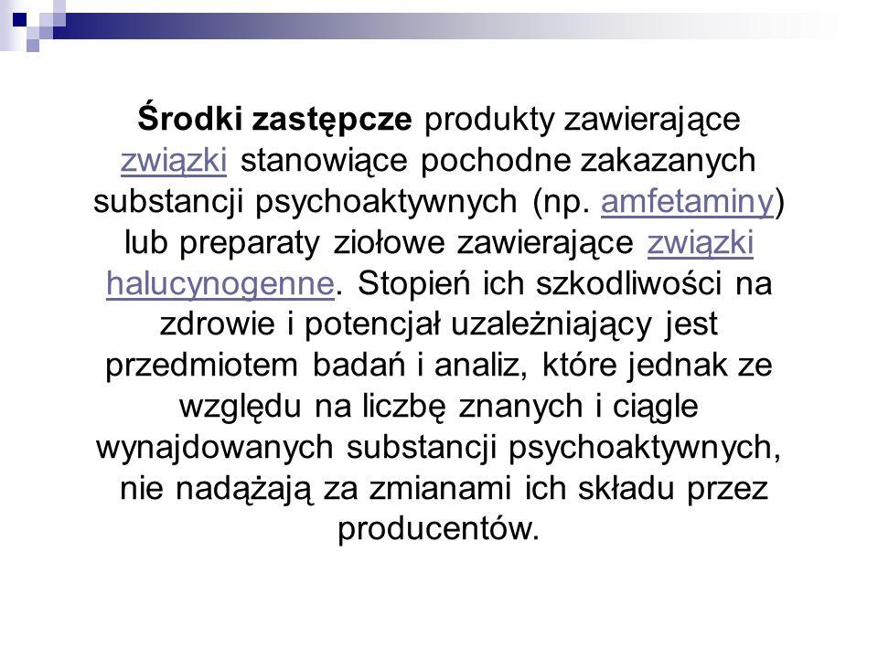 W Polsce dopalaczami są nazywane Środki zastępcze produkty zawierające związki stanowiące pochodne zakazanych substancji psychoaktywnych (np. amfetami