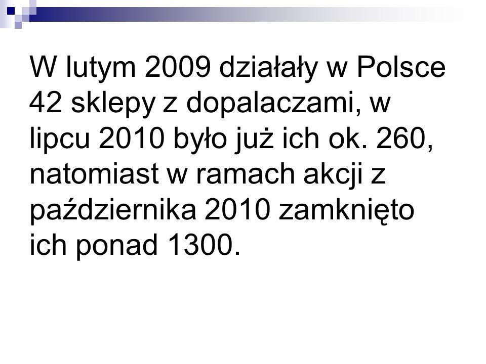 W lutym 2009 działały w Polsce 42 sklepy z dopalaczami, w lipcu 2010 było już ich ok. 260, natomiast w ramach akcji z października 2010 zamknięto ich