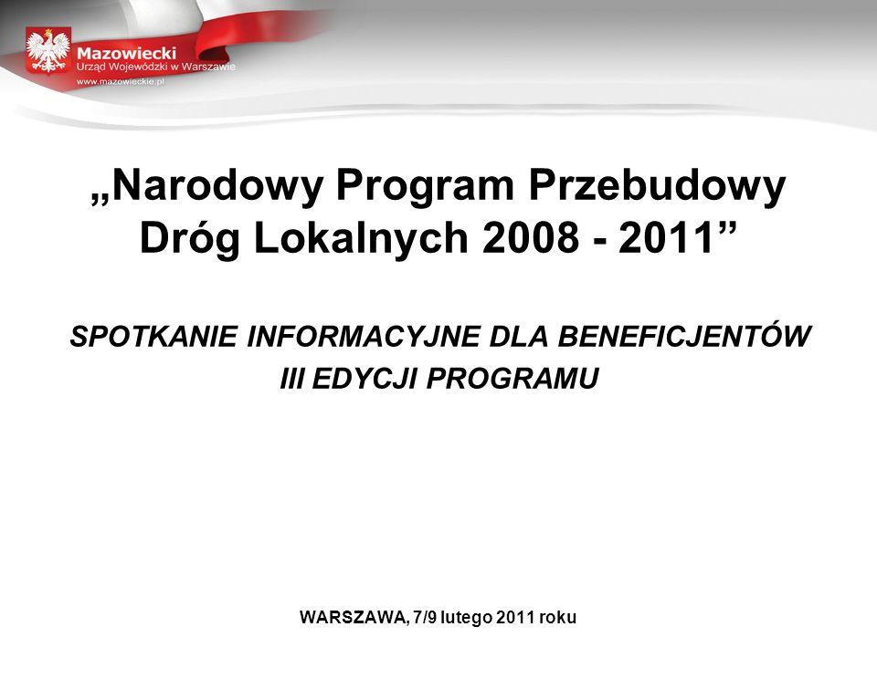 LICZBA PROJEKTÓW ZRELIZOWANYCH I PLANOWANOWANYCH DO REALIZACJI W LATACH 2009 - 2011 W RAMACH NPPDL