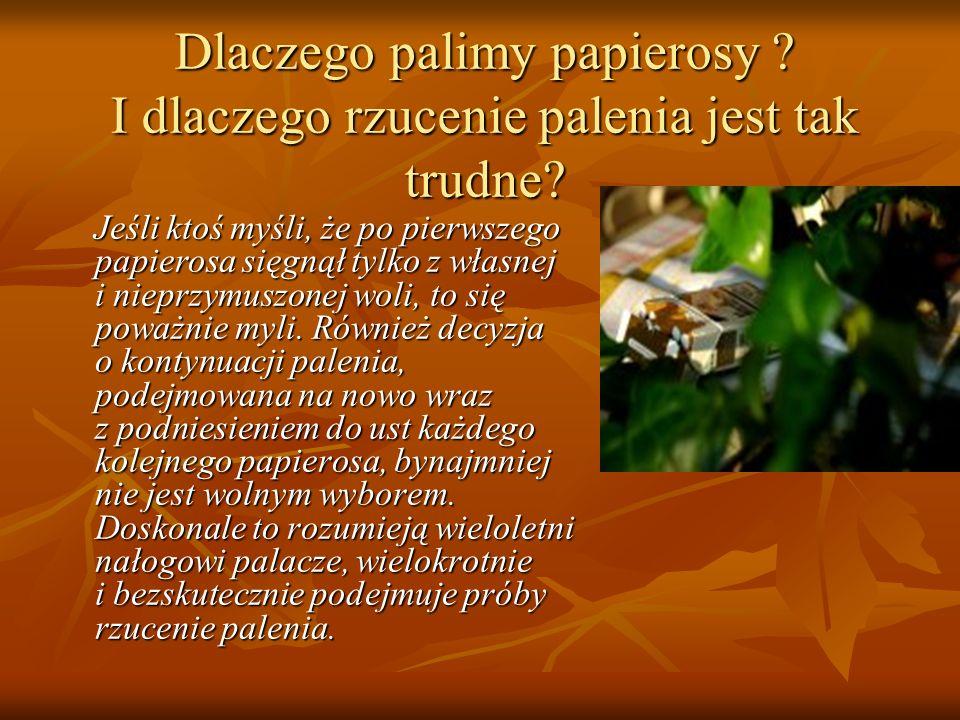 Trochę statystyki Każdego roku na choroby spowodowane paleniem tytoniu umiera w Polsce przedwcześnie około 100.000 tysięcy ludzi.