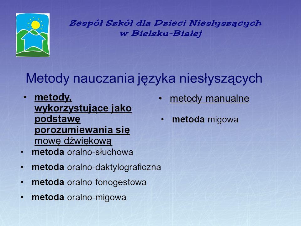 Metody nauczania języka niesłyszących metody, wykorzystujące jako podstawę porozumiewania się mowę dźwiękową metody manualne metoda oralno-słuchowa metoda oralno-daktylograficzna metoda oralno-fonogestowa metoda oralno-migowa metoda migowa