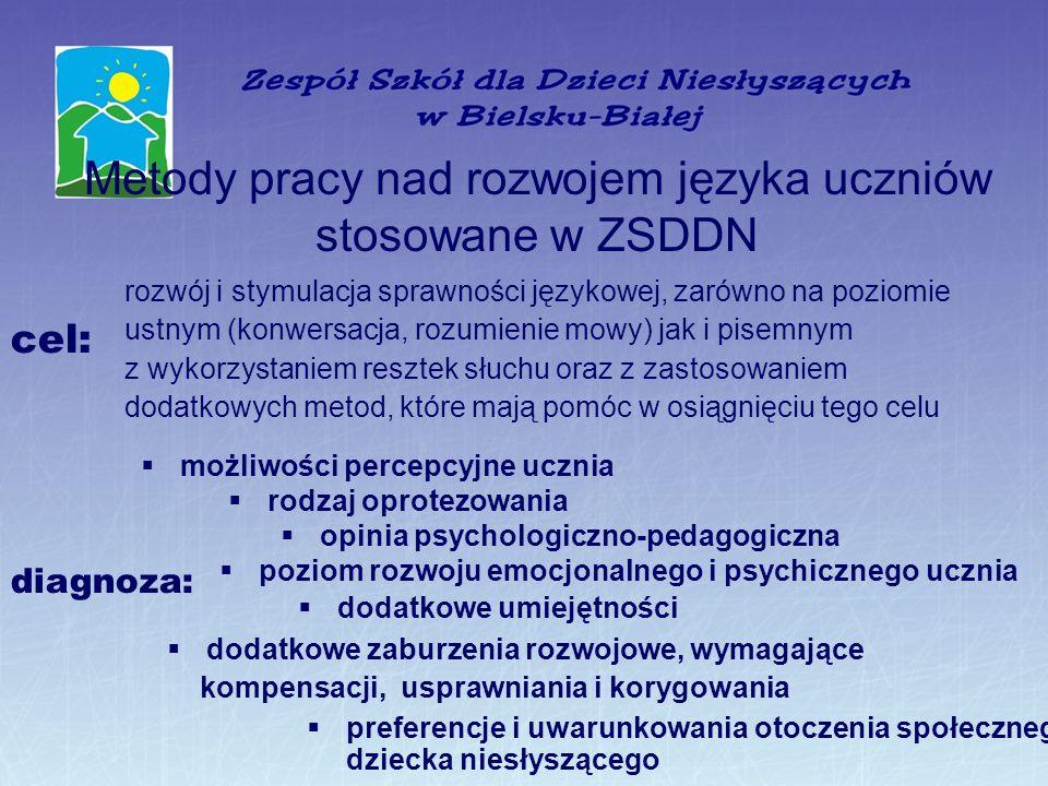 Metody pracy nad rozwojem języka uczniów stosowane w ZSDDN rozwój i stymulacja sprawności językowej, zarówno na poziomie ustnym (konwersacja, rozumien