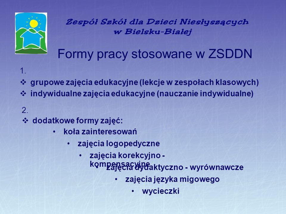 Formy pracy stosowane w ZSDDN 1. grupowe zajęcia edukacyjne (lekcje w zespołach klasowych) indywidualne zajęcia edukacyjne (nauczanie indywidualne) 2.