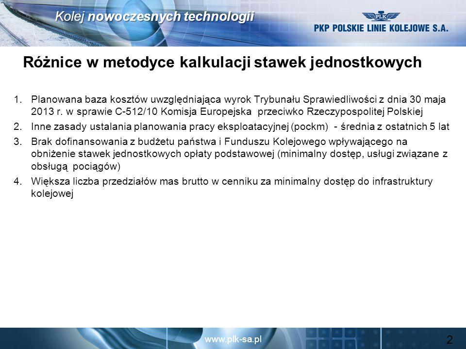 www.plk-sa.pl Kolej nowoczesnych technologii Wpływ braku dofinansowania wpływającego na obniżenie stawek za usługi związane z obsługą pociągów 13 Lp.Nazwa usługi Stawka jednostkowa [zł] według cennika: Zmiana % w stosunku do cennika: 2013 z dotacją 2013 bez dotacji projektu 2014 2013 z dotacją 2013 bez dotacji 1Dostęp do urządzeń zaopatrzenia w paliwo [km]0,841,270,9614,3%-24,4% 2 Dostęp i korzystanie ze stacji pasażerskich, ich budynków i innych urządzeń, w tym: a)korzystanie ze stacji Gdynia Postojowa [wag.]6,569,8712,0383,4%21,9% a)dostęp i korzystanie z peronów oraz informowanie podróżnych, w tym: 1)dostęp i korzystanie z peronów na stacjach i przystankach [postój]:1,29 zł/min.1,94 a)dostęp do torów postojowych dla pociągów pasażerskich [km]: 1)lokomotywy luzem i szynobusy0,841,270,91 8,3%-28,3% 1)pozostałe pojazdy trakcyjne i składy manewrowe2,453,693,6046,9%-2,4% 3 Dostęp do terminali towarowych dla: a)pojazdów kolejowych luzem [km]0,841,271,0120,2%-20,5% a)pociągów lub składów manewrowych [km]5,578,377,26 30,3%-13,3% 4Dostęp i korzystanie ze stacji rozrządowych [wag.]7,8911,8613,60 72,4%14,7% 5Dostęp i korzystanie z torów i urządzeń do formowania składów pociągów [poc.]51,7677,8165,69 26,9%-15,6% 6Korzystanie z torów postojowych [godz.]1,041,561,18 13,5%-24,4% 7Korzystanie z torów do czynności ładunkowych [godz.]9,7014,5810,336,5%-29,1%