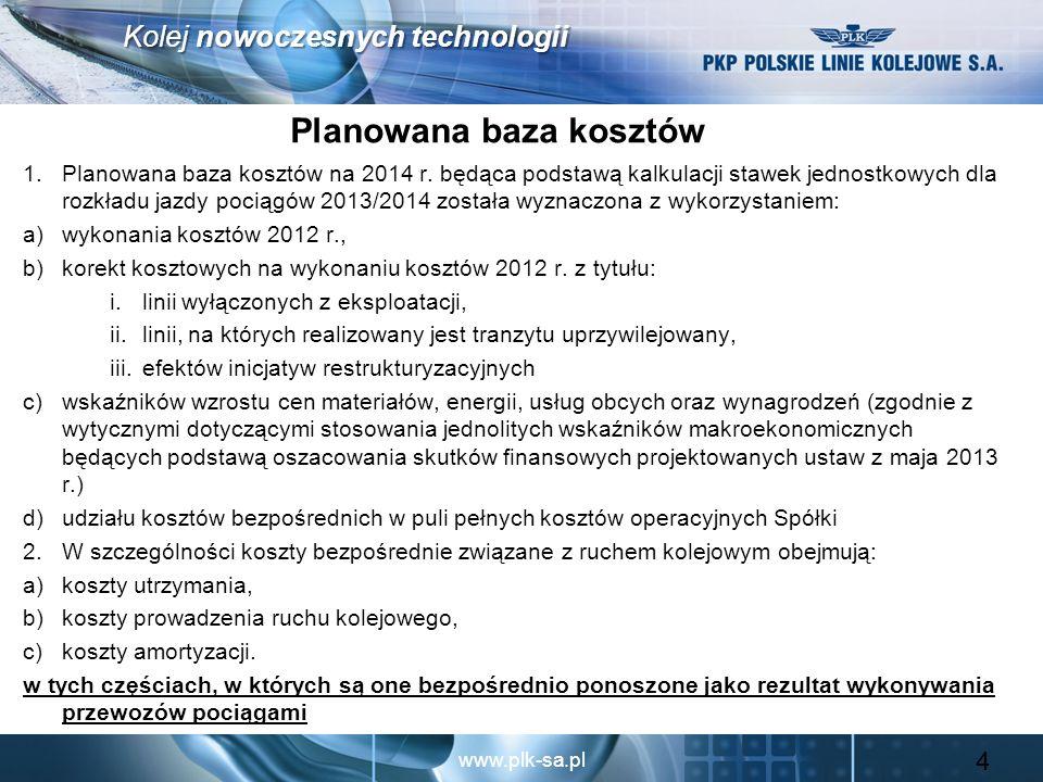 www.plk-sa.pl Kolej nowoczesnych technologii Planowana baza kosztów 1.Planowana baza kosztów na 2014 r. będąca podstawą kalkulacji stawek jednostkowyc