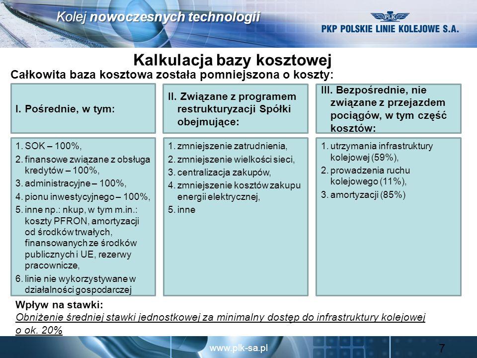 www.plk-sa.pl Kolej nowoczesnych technologii System zachęt do optymalizacji kosztów W każdym kolejnym projekcie stawek do czasu wprowadzenia nowych regulacji rządowych Spółka w uzgodnieniu z Prezesem UTK zobowiązana jest do zestawienia planowanych inicjatyw restrukturyzacyjnych na kolejne 2 lata, w tym: harmonogram kluczowych działań w ramach każdej inicjatywy restrukturyzacyjnej mierniki postępu prac wpływ inicjatyw na bazę kosztową oraz na wysokość stawek sporządzenia sprawozdań z realizacji trwających i zakończonych inicjatyw vs plan Jeżeli planowane inicjatywy restrukturyzacyjne nie zostaną w pełni zrealizowane zgodnie z planem (po uwzględnieniu obiektywnych czynników, na które Spółka nie miała wpływu) baza kosztowa na kolejny rok zostanie pomniejszona o uzgodnioną z Prezesem UTK część różnicy pomiędzy efektem zakładanym, a zrealizowanym przez Spółkę.