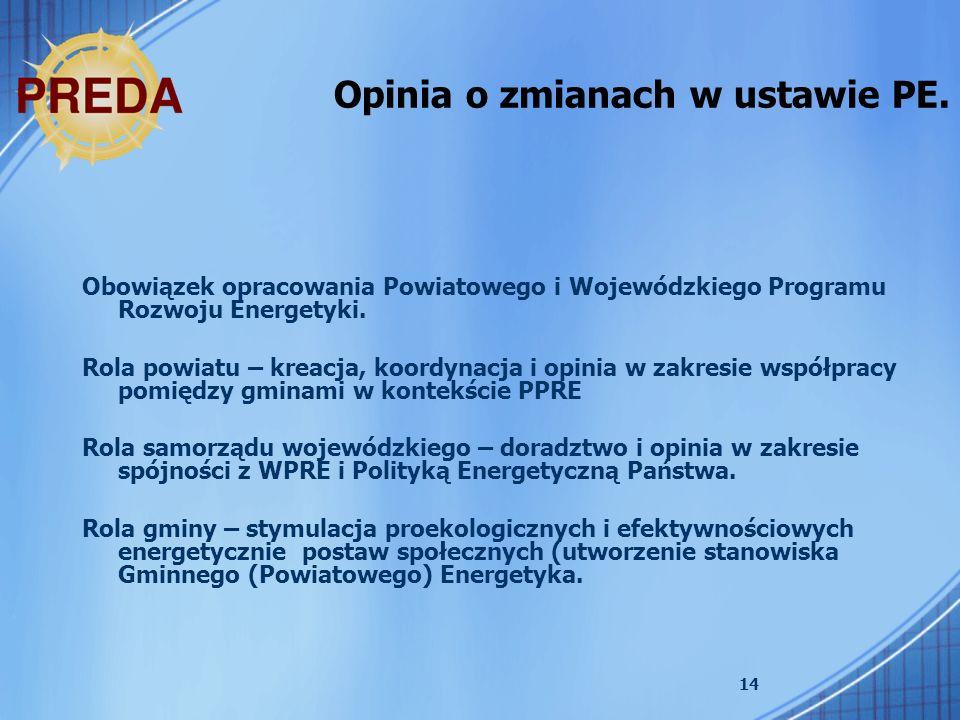 14 Opinia o zmianach w ustawie PE. Obowiązek opracowania Powiatowego i Wojewódzkiego Programu Rozwoju Energetyki. Rola powiatu – kreacja, koordynacja