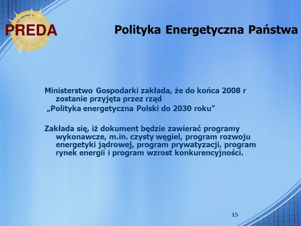 15 Polityka Energetyczna Państwa Ministerstwo Gospodarki zakłada, że do końca 2008 r zostanie przyjęta przez rząd Polityka energetyczna Polski do 2030 roku Zakłada się, iż dokument będzie zawierać programy wykonawcze, m.in.