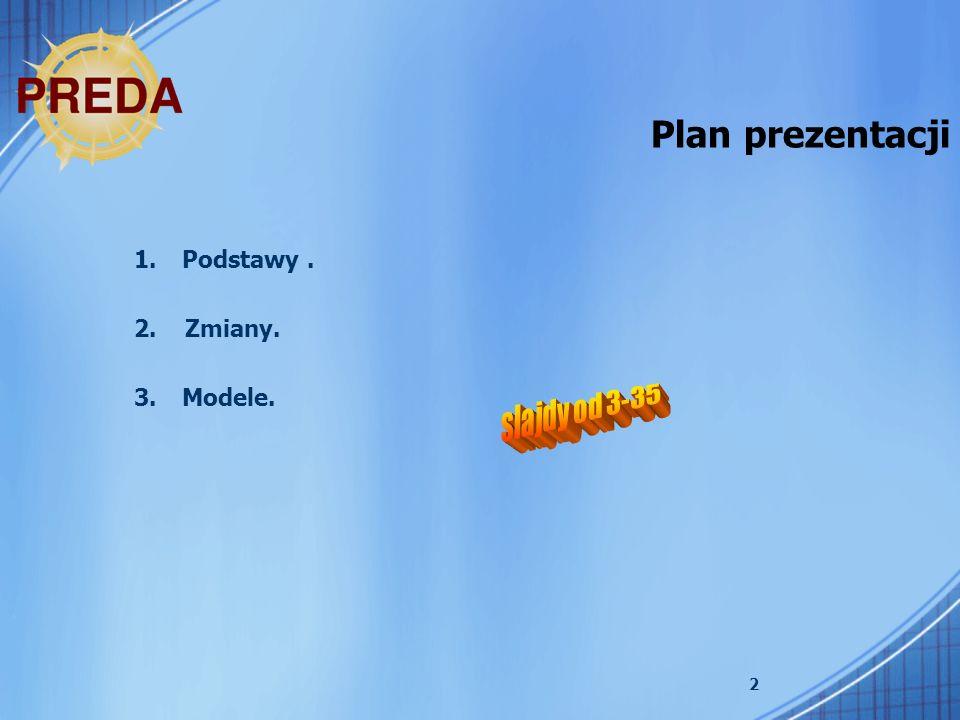 2 Plan prezentacji 1.Podstawy. 2. Zmiany. 3.Modele.