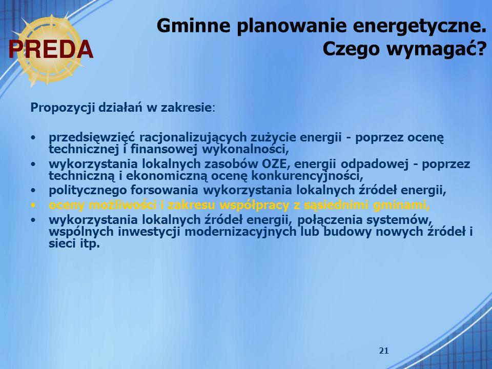 21 Propozycji działań w zakresie: przedsięwzięć racjonalizujących zużycie energii - poprzez ocenę technicznej i finansowej wykonalności, wykorzystania lokalnych zasobów OZE, energii odpadowej - poprzez techniczną i ekonomiczną ocenę konkurencyjności, politycznego forsowania wykorzystania lokalnych źródeł energii, oceny możliwości i zakresu współpracy z sąsiednimi gminami, wykorzystania lokalnych źródeł energii, połączenia systemów, wspólnych inwestycji modernizacyjnych lub budowy nowych źródeł i sieci itp.