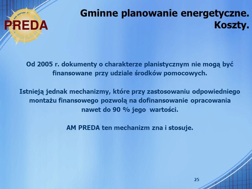 25 Gminne planowanie energetyczne. Koszty. Od 2005 r. dokumenty o charakterze planistycznym nie mogą być finansowane przy udziale środków pomocowych.