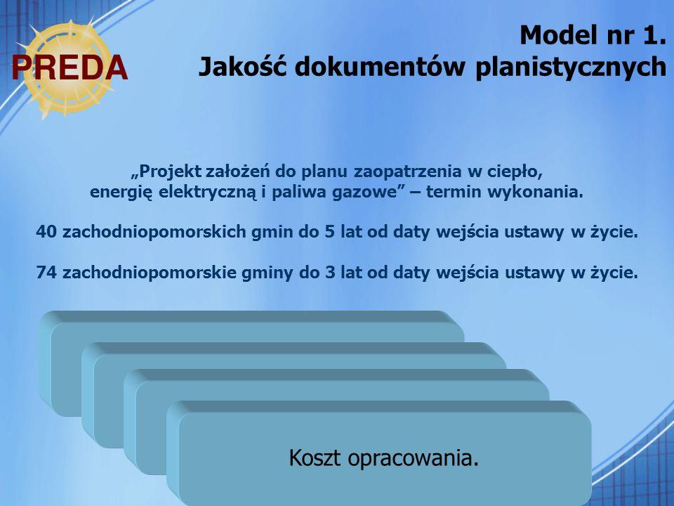 26 Model nr 1. Jakość dokumentów planistycznych Projekt założeń do planu zaopatrzenia w ciepło, energię elektryczną i paliwa gazowe – termin wykonania