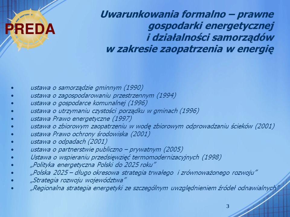 3 Uwarunkowania formalno – prawne gospodarki energetycznej i działalności samorządów w zakresie zaopatrzenia w energię ustawa o samorządzie gminnym (1990) ustawa o zagospodarowaniu przestrzennym (1994) ustawa o gospodarce komunalnej (1996) ustawa o utrzymaniu czystości porządku w gminach (1996) ustawa Prawo energetyczne (1997) ustawa o zbiorowym zaopatrzeniu w wodę zbiorowym odprowadzaniu ścieków (2001) ustawa Prawo ochrony środowiska (2001) ustawa o odpadach (2001) ustawa o partnerstwie publiczno – prywatnym (2005) Ustawa o wspieraniu przedsięwzięć termomodernizacyjnych (1998) Polityka energetyczna Polski do 2025 roku Polska 2025 – długo okresowa strategia trwałego i zrównoważonego rozwoju Strategia rozwoju województwa Regionalna strategia energetyki ze szczególnym uwzględnieniem źródeł odnawialnych