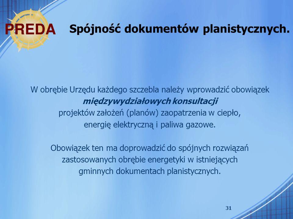 31 Spójność dokumentów planistycznych. W obrębie Urzędu każdego szczebla należy wprowadzić obowiązek międzywydziałowych konsultacji projektów założeń