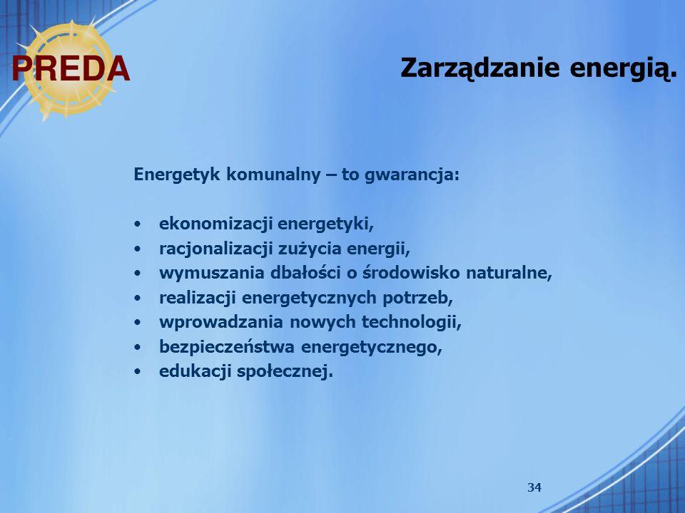 34 Zarządzanie energią. Energetyk komunalny – to gwarancja: ekonomizacji energetyki, racjonalizacji zużycia energii, wymuszania dbałości o środowisko