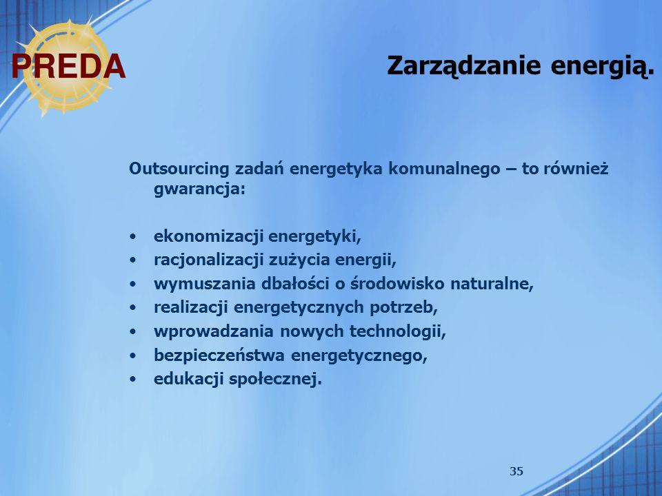 35 Zarządzanie energią. Outsourcing zadań energetyka komunalnego – to również gwarancja: ekonomizacji energetyki, racjonalizacji zużycia energii, wymu