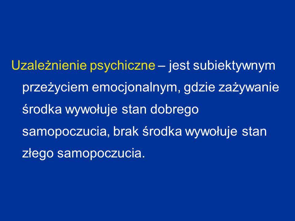 Substancje psychoaktywne – środek chemiczny, który poprzez swoje działanie na organizm człowieka powoduje zmianę jego samopoczucia i fałszuje odbiór otaczającej rzeczywistości, a przyjmowanie go związane jest z możliwością uzależnienia się.