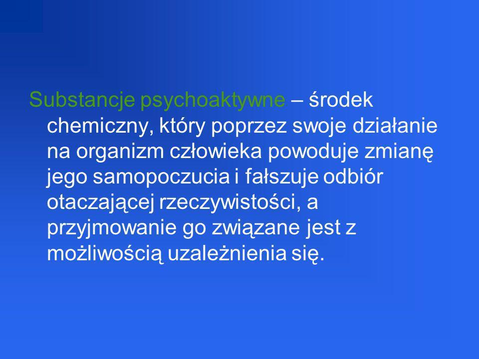 Substancje psychofizyczne (uzależniające) tj.