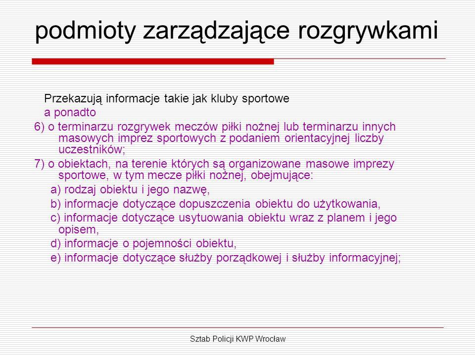 Sztab Policji KWP Wrocław podmioty zarządzające rozgrywkami Przekazują informacje takie jak kluby sportowe a ponadto 6) o terminarzu rozgrywek meczów