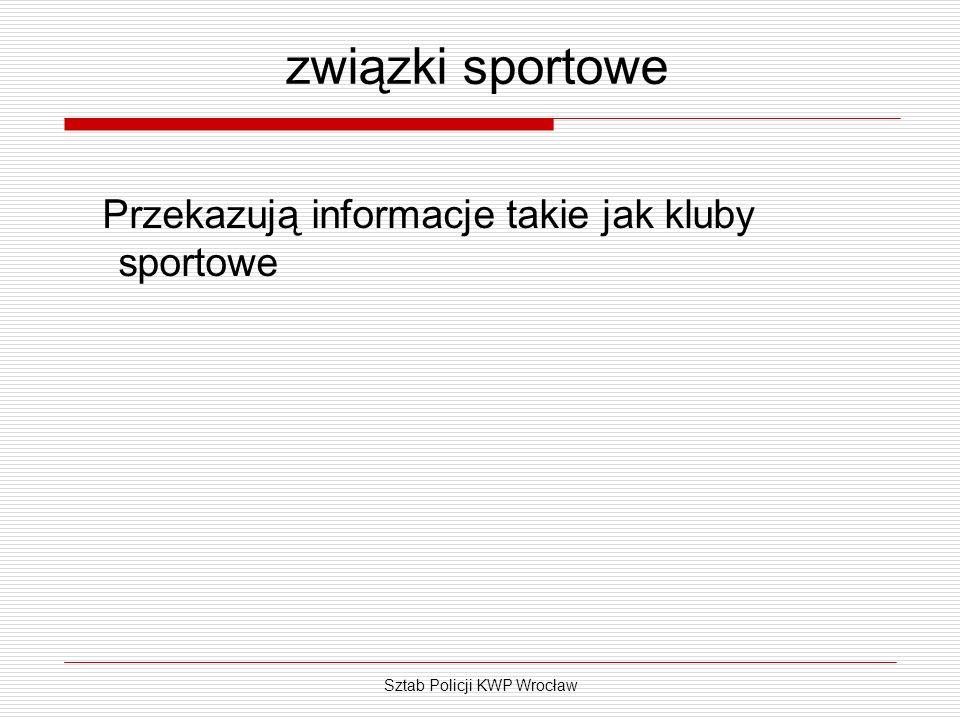 Sztab Policji KWP Wrocław związki sportowe Przekazują informacje takie jak kluby sportowe