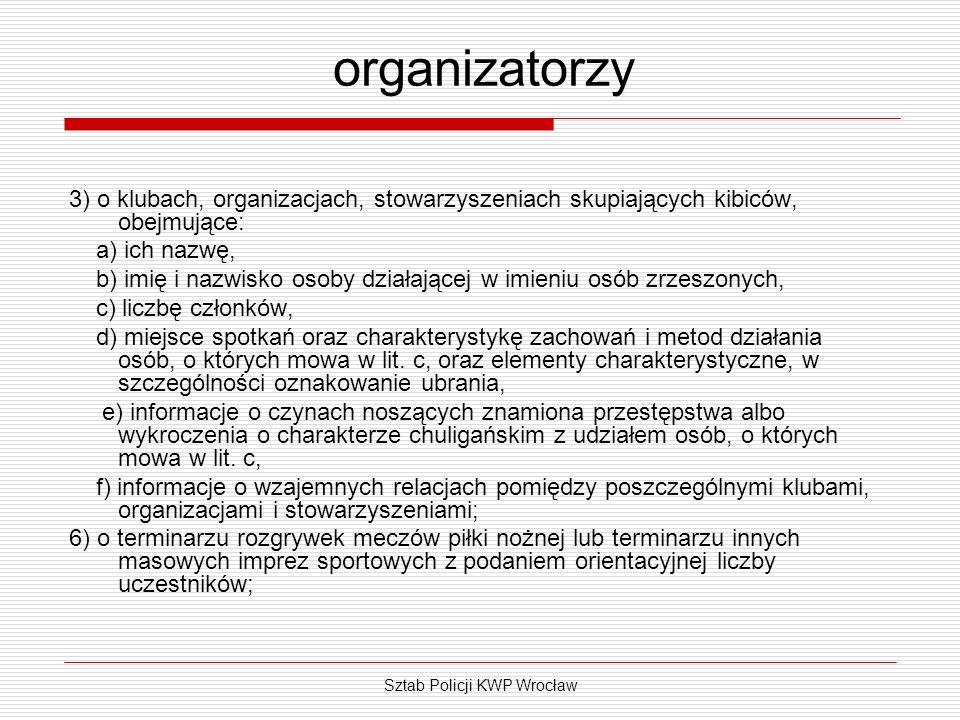 Sztab Policji KWP Wrocław organizatorzy 3) o klubach, organizacjach, stowarzyszeniach skupiających kibiców, obejmujące: a) ich nazwę, b) imię i nazwis