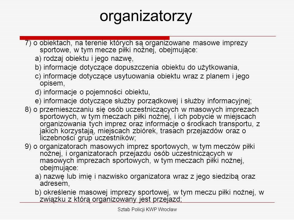 Sztab Policji KWP Wrocław organizatorzy 7) o obiektach, na terenie których są organizowane masowe imprezy sportowe, w tym mecze piłki nożnej, obejmują