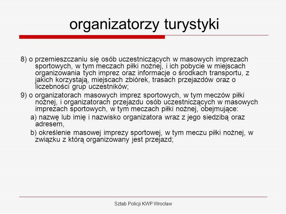 Sztab Policji KWP Wrocław organizatorzy turystyki 8) o przemieszczaniu się osób uczestniczących w masowych imprezach sportowych, w tym meczach piłki n