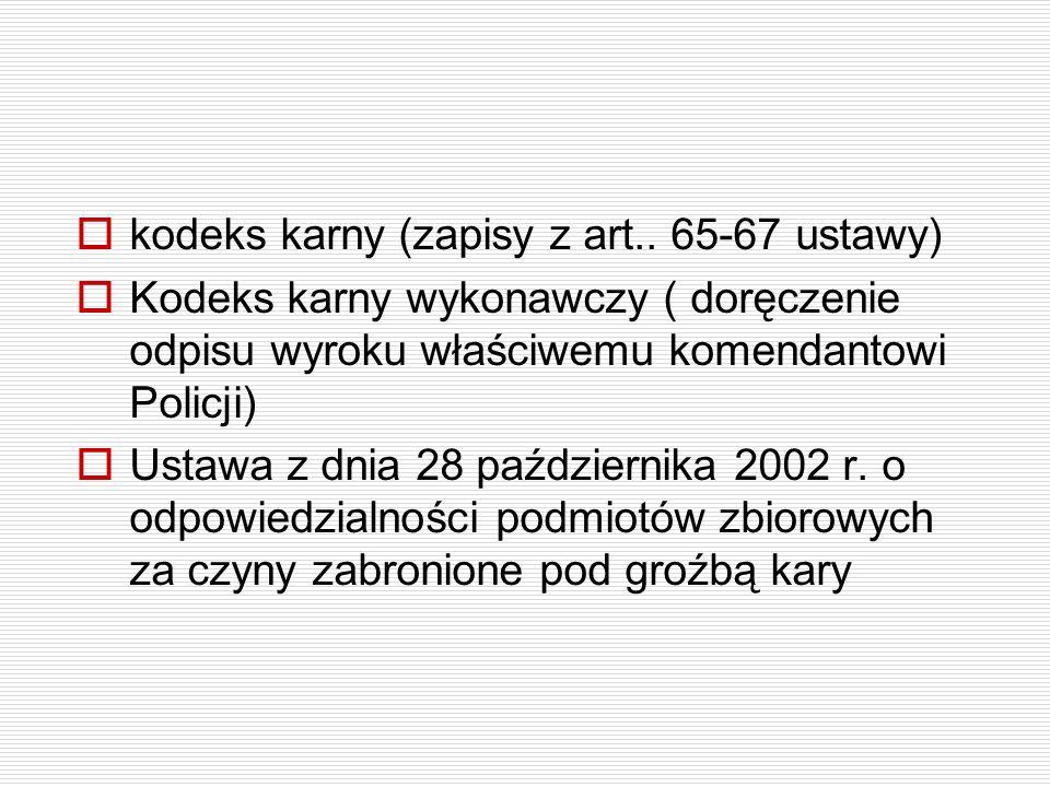 kodeks karny (zapisy z art.. 65-67 ustawy) Kodeks karny wykonawczy ( doręczenie odpisu wyroku właściwemu komendantowi Policji) Ustawa z dnia 28 paździ