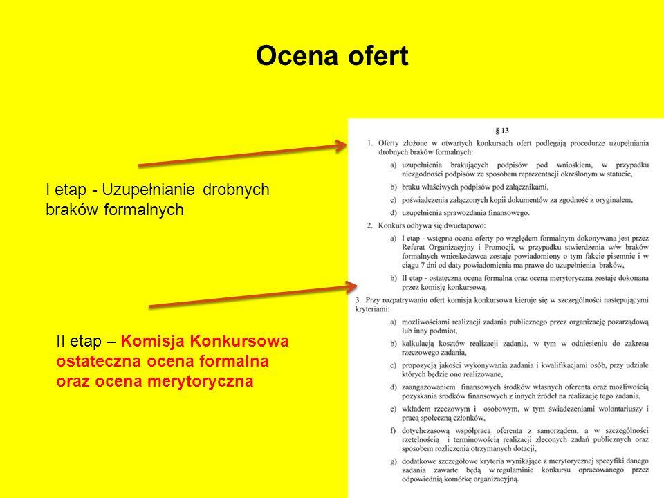 Ocena ofert I etap - Uzupełnianie drobnych braków formalnych II etap – Komisja Konkursowa ostateczna ocena formalna oraz ocena merytoryczna