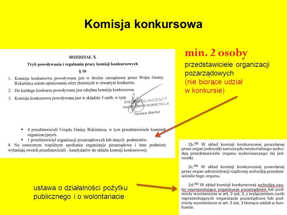 Komisja konkursowa min. 2 osoby przedstawiciele organizacji pozarządowych (nie biorące udział w konkursie) ustawa o działalności pożytku publicznego i