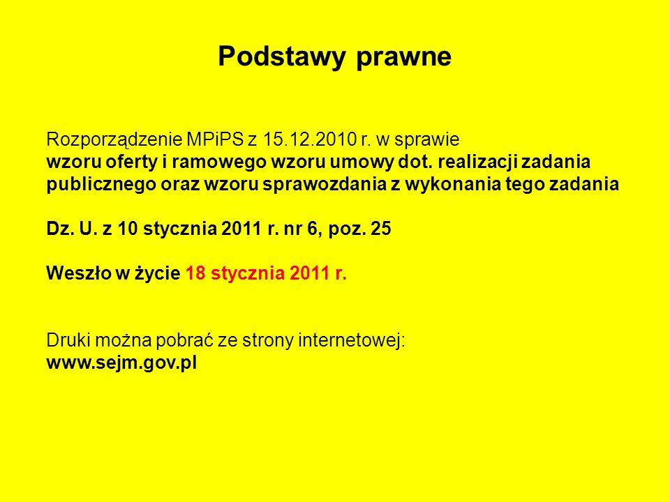 Podstawy prawne Rozporządzenie MPiPS z 15.12.2010 r. w sprawie wzoru oferty i ramowego wzoru umowy dot. realizacji zadania publicznego oraz wzoru spra