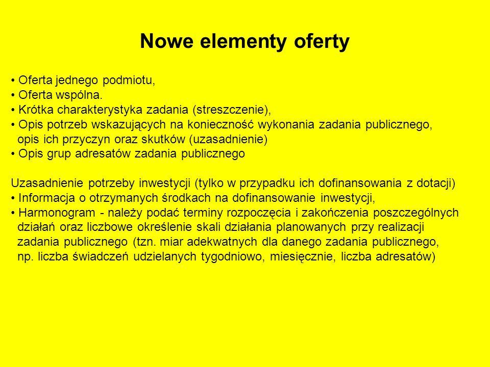 Nowe elementy oferty Oferta jednego podmiotu, Oferta wspólna. Krótka charakterystyka zadania (streszczenie), Opis potrzeb wskazujących na konieczność