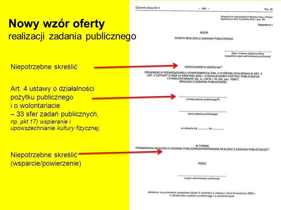 Niepotrzebne skreślić Nowy wzór oferty realizacji zadania publicznego Art. 4 ustawy o działalności pożytku publicznego i o wolontariacie – 33 sfer zad