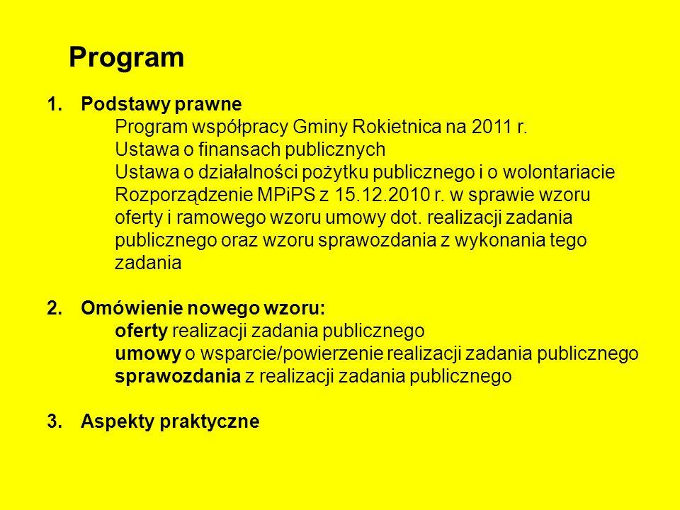 Program 1.Podstawy prawne Program współpracy Gminy Rokietnica na 2011 r. Ustawa o finansach publicznych Ustawa o działalności pożytku publicznego i o