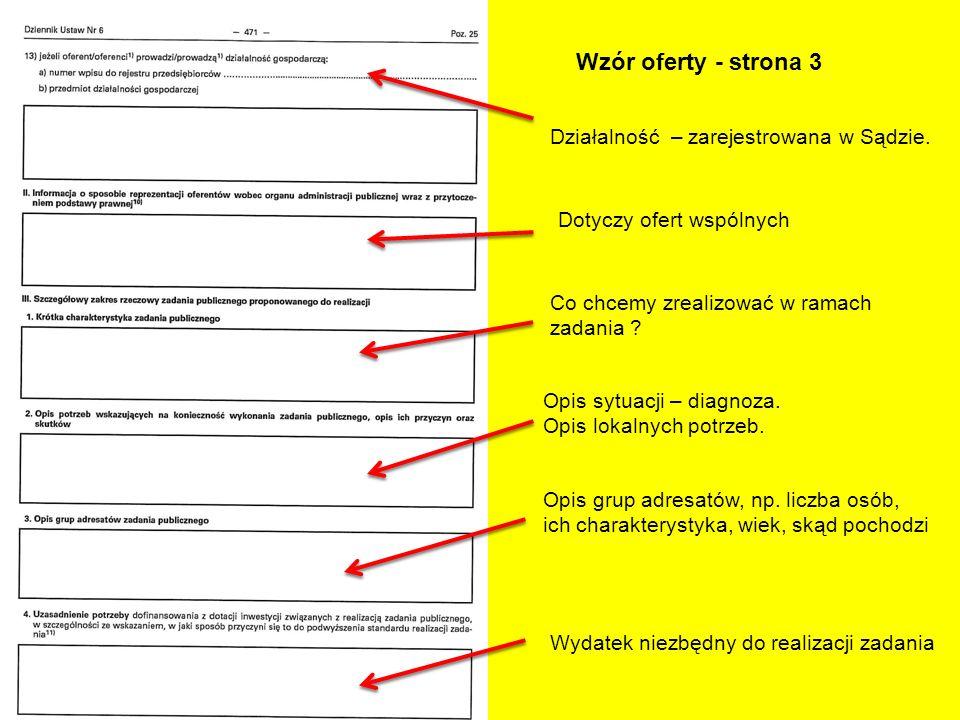 Wzór oferty - strona 3 Działalność – zarejestrowana w Sądzie. Dotyczy ofert wspólnych Co chcemy zrealizować w ramach zadania ? Opis sytuacji – diagnoz