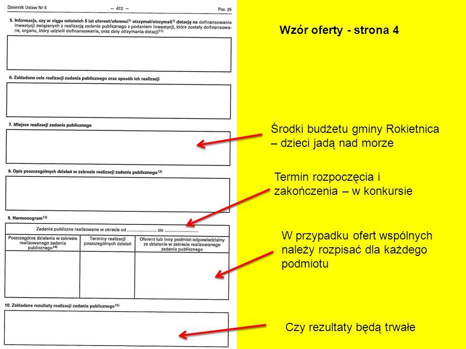 Wzór oferty - strona 4 W przypadku ofert wspólnych należy rozpisać dla każdego podmiotu Termin rozpoczęcia i zakończenia – w konkursie Środki budżetu
