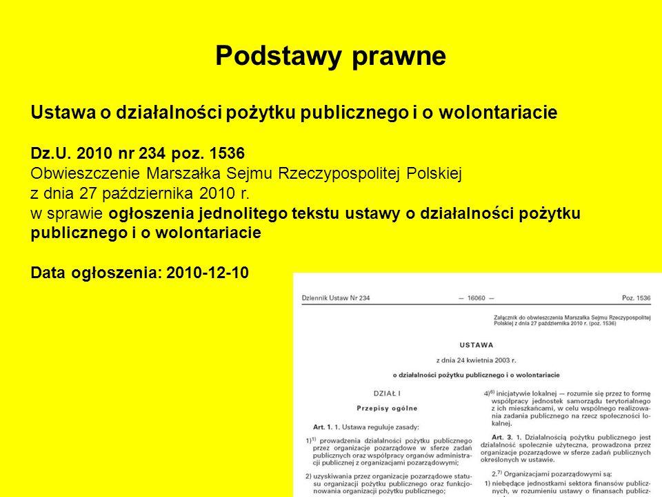 Podstawy prawne Ustawa o działalności pożytku publicznego i o wolontariacie Dz.U. 2010 nr 234 poz. 1536 Obwieszczenie Marszałka Sejmu Rzeczypospolitej