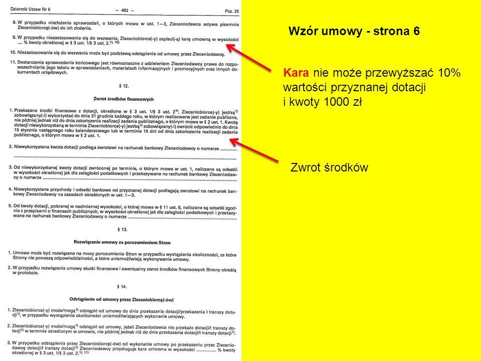 Wzór umowy - strona 6 Kara nie może przewyższać 10% wartości przyznanej dotacji i kwoty 1000 zł Zwrot środków
