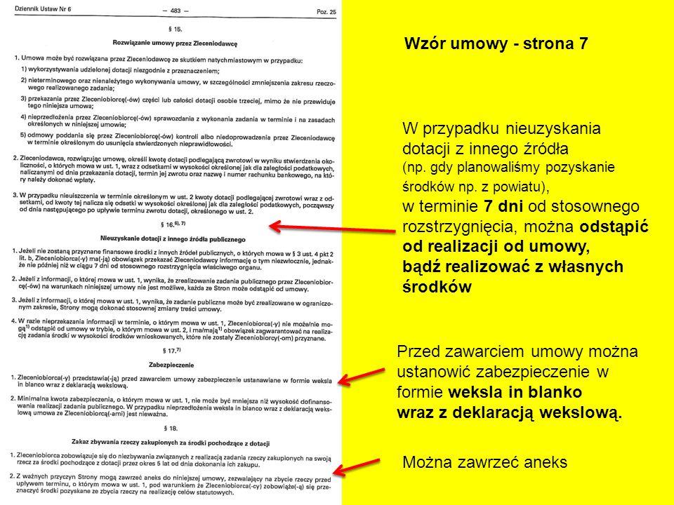 Wzór umowy - strona 7 W przypadku nieuzyskania dotacji z innego źródła (np. gdy planowaliśmy pozyskanie środków np. z powiatu), w terminie 7 dni od st