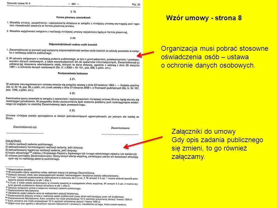 Wzór umowy - strona 8 Organizacja musi pobrać stosowne oświadczenia osób – ustawa o ochronie danych osobowych. Załączniki do umowy Gdy opis zadania pu