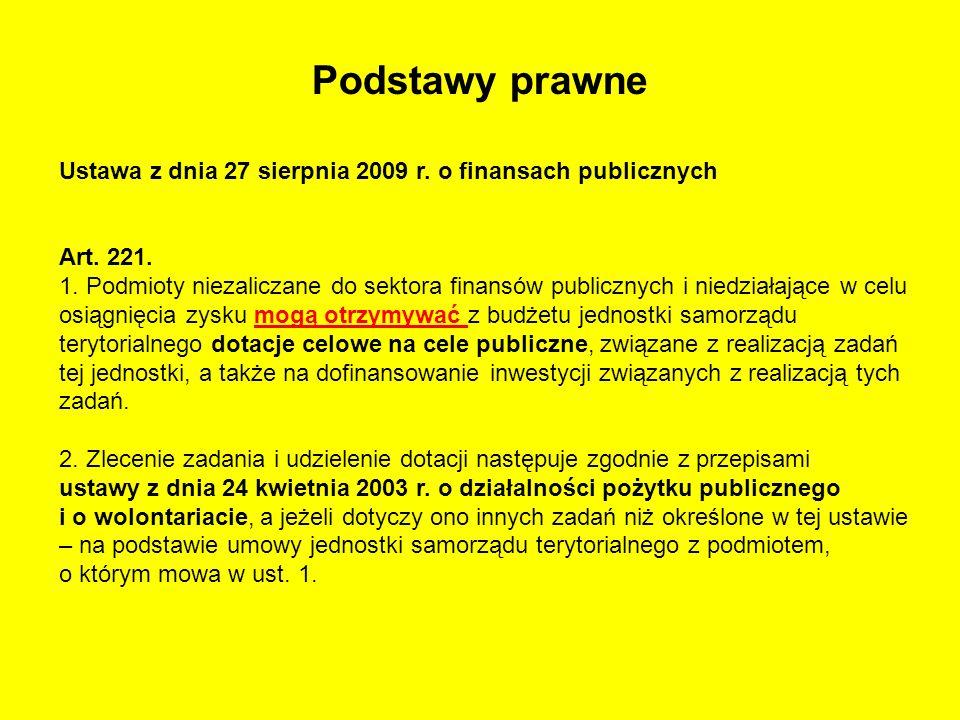 Podstawy prawne Ustawa z dnia 27 sierpnia 2009 r. o finansach publicznych Art. 221. 1. Podmioty niezaliczane do sektora finansów publicznych i niedzia