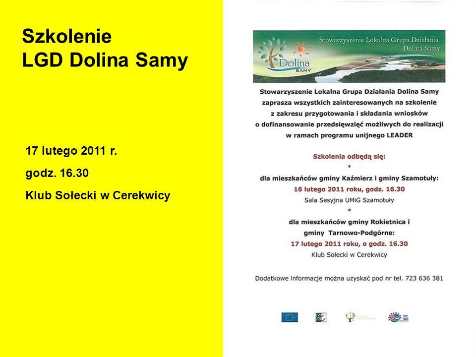 Szkolenie LGD Dolina Samy 17 lutego 2011 r. godz. 16.30 Klub Sołecki w Cerekwicy