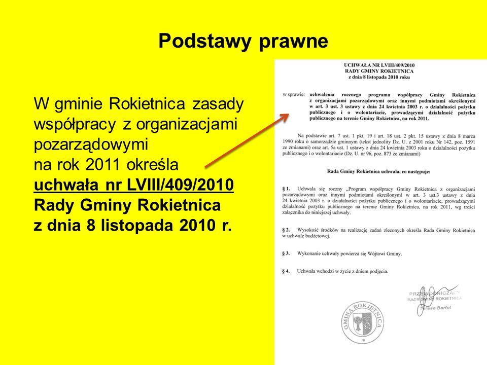 Podstawy prawne W gminie Rokietnica zasady współpracy z organizacjami pozarządowymi na rok 2011 określa uchwała nr LVIII/409/2010 Rady Gminy Rokietnic