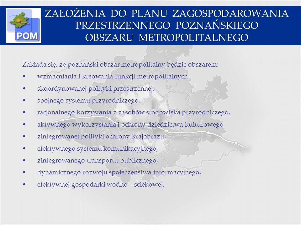 Zakłada się, że poznański obszar metropolitalny będzie obszarem: wzmacniania i kreowania funkcji metropolitalnych skoordynowanej polityki przestrzenne