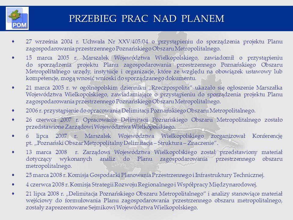 27 września 2004 r. Uchwała Nr XXV/405/04 o przystąpieniu do sporządzenia projektu Planu zagospodarowania przestrzennego Poznańskiego Obszaru Metropol
