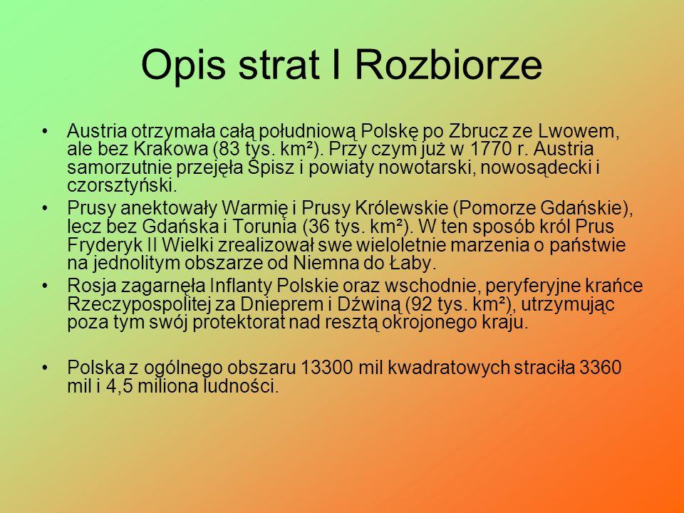 I Rozbiór Polski I rozbiór Polski – pierwszy z trzech rozbiorów Polski, jakie miały miejsce pod koniec XVIII wieku. Trwająca przez cztery lata konfede
